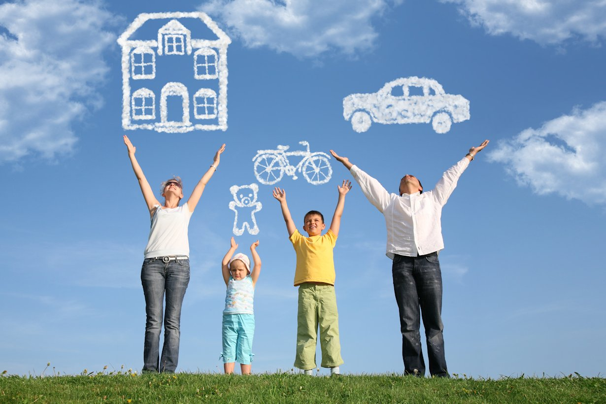 family with arms up and clouds making house, car and bicycle.